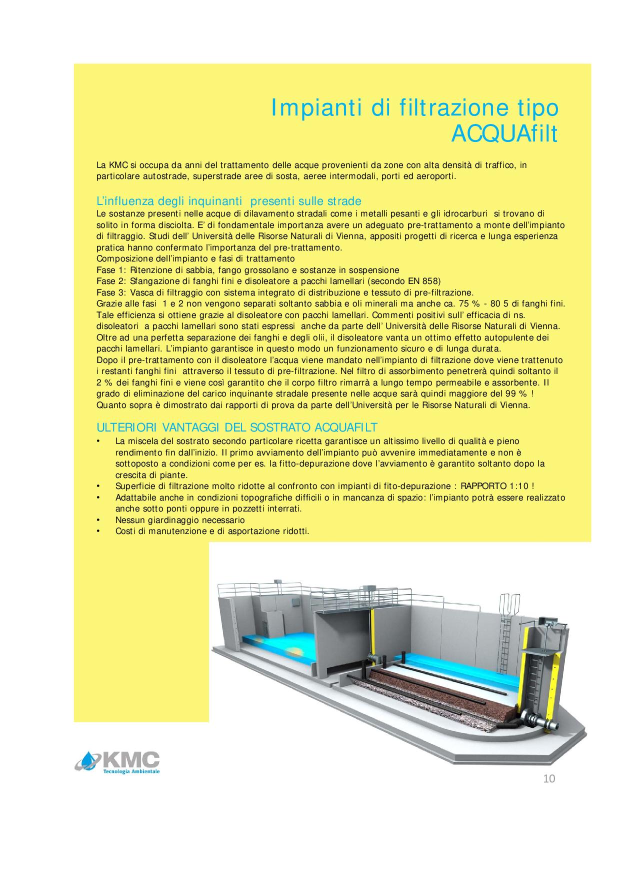 Impianti di filtrazione tipo KMC-ACQUAfilt